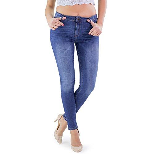 jeans donna farfallina MAMAJEANS Jeans Donna Skinny con Lavaggio Medio