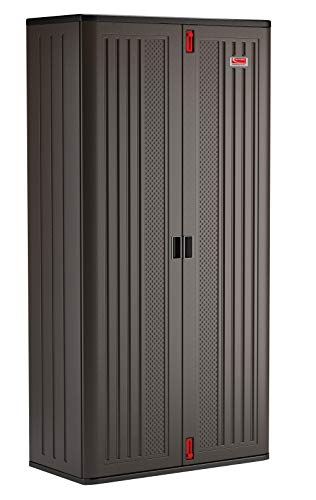 Suncast Commercial Blow Molded Mega Tall Cabinet, Black Storage Shed, Outdoor Use, 6 Shelf