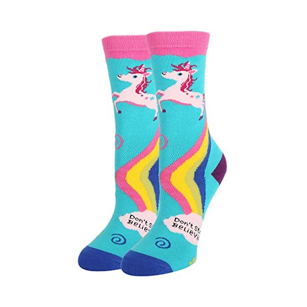 Zmart Girls Llama Rainbow Unicorn Novelty Funny Gift Socks, Crazy Cute Animal Design