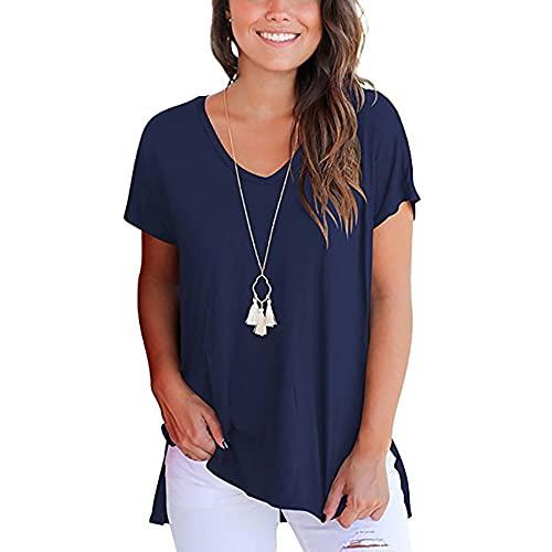 Camiseta Holgada De Manga Corta con Cuello En V Y Abertura Lateral Larga con Espalda Corta Y Frontal Simple para Mujer
