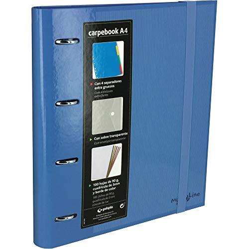 Grafoplás 88102030-Carpeta anillas troqueladas A4 con sobre transparente, 4 separadores y 100 hojas, color azul, 4 anillas de 35mm, cierre de goma. Carpebook Multiline