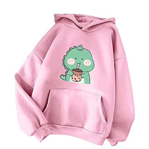 URIBAKY - Sudadera con capucha para mujer, diseño informal de manga larga, con capucha, manga larga y capucha, B-rosa., M