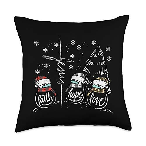 Christmas Quarantine Pillows Social Distance 2020 Faith Hope Love Jesus Snowman Mask Christmas Quarantine Gift Throw Pillow, 18x18, Multicolor