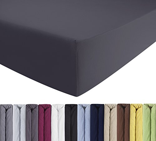 ENTSPANNO Jersey Spannbettlaken für Wasser- und Boxspringbett in Grau (Anthrazit) aus Baumwolle. Spannbetttuch mit Einlaufschutz, 180 x 200 | 200 x 200 | 200 x 220 cm, bis 40 cm hohe Matratzen