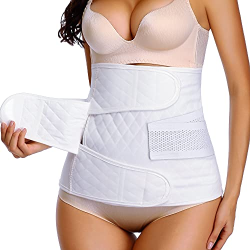 Abdominal Binders Post Surgery Postpartum Belly Wrap Cotton Belly Binder C Section Belly Band After Post Baby delivery Belt Wrap White