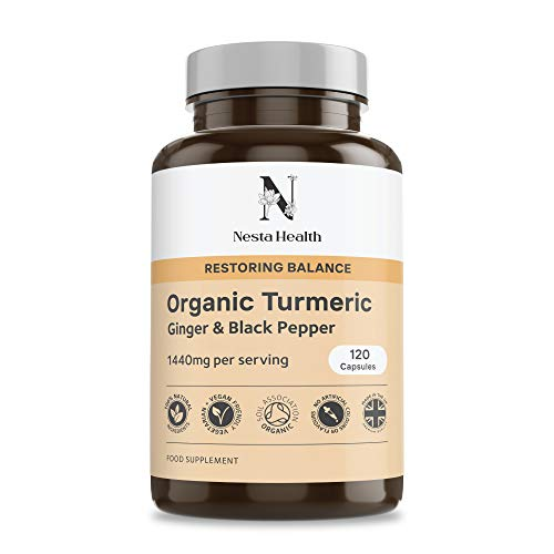 Organic Turmeric 1440mg with Black Pepper & Ginger - 120 Vegan Turmeric Capsules High Strength – Organic Turmeric with Active Ingredient Curcumin - Nesta Health Made in The UK