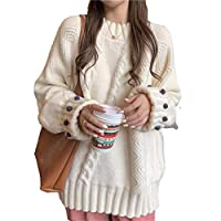 レディースジャンパーニットカジュアル長袖セータープルオーバートップかわいいと優しい穏やかな日本の怠惰なハイセンスソフトセーター女性,Milky white,S