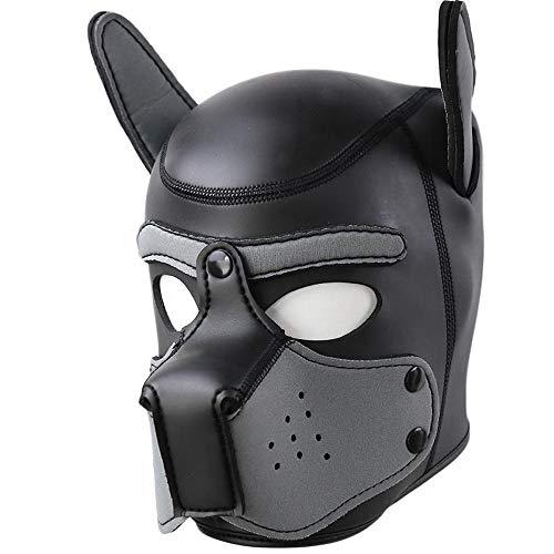 AmaMary Hundemaske,Weiche Latex Petplay Hundemaske mit Ohren Welpenmaske Hunde Masken für Cosplay Party Maskerade (grau)
