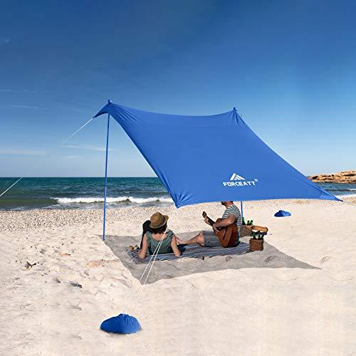 Forceatt Tendalino da Spiaggia, Tenda da Spiaggia Pop-up con Protezione UV UPF50 e 2 Pezzi Pali in Alluminio, Riparo da Esterno per Tempo in Spiaggia, Campeggio o Picnic in Famiglia (2.1 Mx2.1 M)