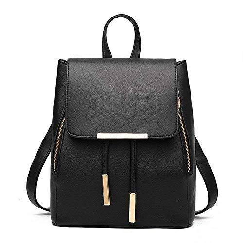 Mini Backpack for Women PU Leather Small Backpack for Women Travel Daypacks(Black)