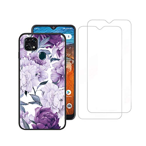 Tznzxm ZTE ZMax 10/ ZTE Z6250 Case with Tempered Glass Screen Protector [2 Pack], Flower Painting Design Flexible TPU Scratch Resistant Non-Slip Protective Bumper Slim Phone Case for ZTE Z6250 Purple
