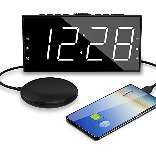 OnLyee Alarm Clock for Heavy Sleepers - Vibrating Extra Loud Bed Shaker with 7.5