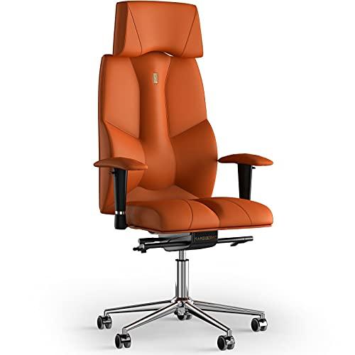 KULIK SYSTEM Silla de escritorio para computadora con soporte ergonómico patentado y cojín de asiento | Silla de oficina ergonómica | Silla de ordenador para el hogar – Piel sintética (naranja)