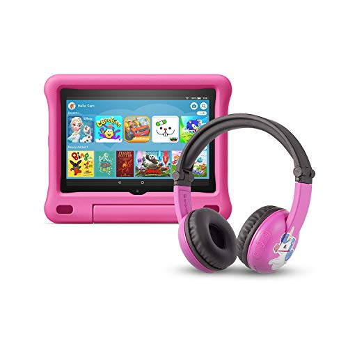 All-new Fire HD 8 Kids Edition tablet | 8' HD display, 32 GB, Pink Kid-Proof Case + Made for Amazon Bluetooth BuddyPhones, PlayTime in Pink – Ages (3-7)