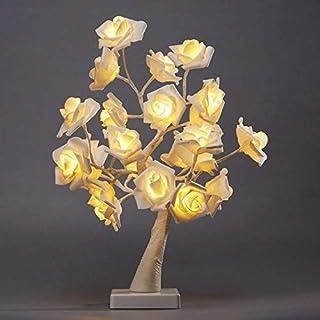 Rose Tree Table Lamp Romantic Flower Wedding Holiday Decoration Desk Lights Plant Decorative Bonsai Dropship Lamparas Ligh...