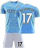 Crstal 2020-2021 Kinder Jugend Trikot und Shorts, Herren Fußball Jersey & Shorts, Geschenke für Kinder Erw. Jungen Baby Fußball T-Shirt Bedrucken (Color:DE BRUYNE 17,Size:X-Large)