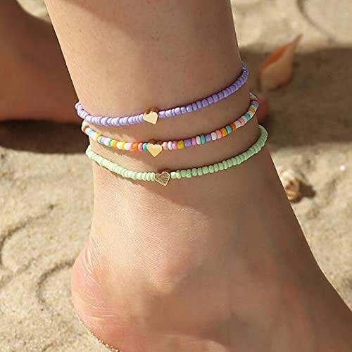 Aukmla Boho-Fußkettchen, goldfarbene Herz-Fußkettchen, bunt, mehrlagig, Fußschmuck für Frauen und Mädchen (3 Stück)