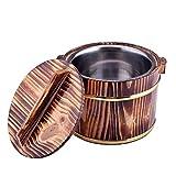 Lurrose Cubo de arroz a vapor hecho a mano cubo de arroz de madera de cocinar al vapor arroz al vapor barril de madera para el hogar cocina café