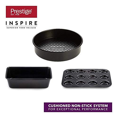 Prestige Inspire 3-teiliges Set, spülmaschinenfestes Set mit Brotform, Antihaft Kuchenform und Brötchenblech, Backformen, ofenfeste Formen aus Karbonstahl