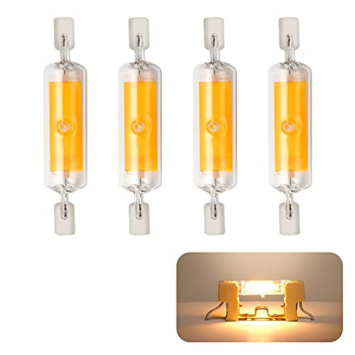Yafido 4 piezas Bombilla R7S LED dimmable light 78mm 10W 230V, R7S LED Lámpara blanco cálido 3000K, 800LM COB LED Lámpara, 360° ángulo de haz de 360 °, Equivalent to 80W halogen lámpara