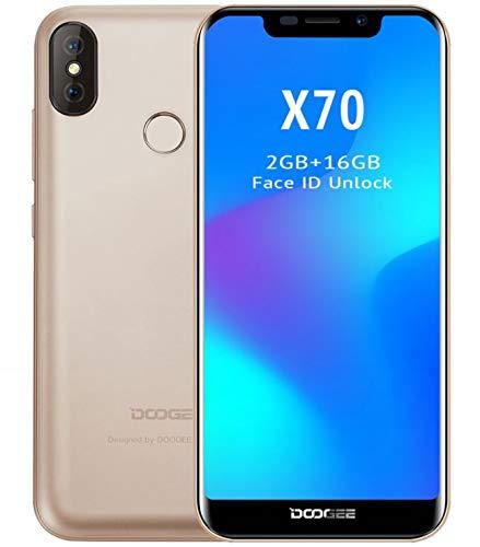 DOOGEE X70 móviles Libres - Pantalla de 5,3 Pulgadas con U-Notch (relación 19: 9), Smartphone Android 8.0 SIM sin Tarjeta, 4000mAh batería, reconocimiento Facial, Quad Core de 2GB + 16GB - Oro