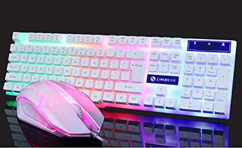 Bovake Gaming-Tastatur, Maus-Set, bunte LED-beleuchtete Hintergrundbeleuchtung, USB, kabelgebunden, Regenbogen-Gaming-Tastatur, Maus-Set (weiß)