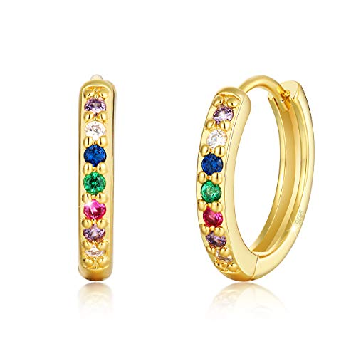 925 Sterling Silver Rainbow Hoop Earrings for Women Girls, 14K Gold Plated Small Huggies Hoop Earrings for Cartilage,13.6mm