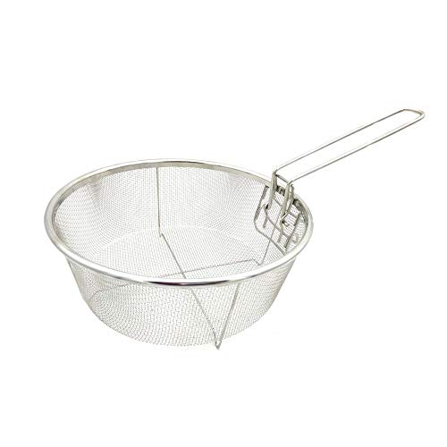 Sieb, mikroperforiert, feinmaschiges Sieb aus Edelstahl, Frittiersieb zum Frittieren von Reis und Gemüsefrüchten (rund, klein, 19,5 x 19,5 cm)