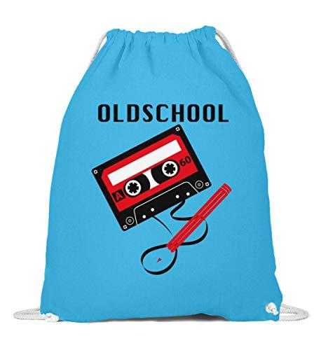 generisch Kassetten-Kult: Oldschool Tape - Baumwoll Gymsac -37cm-46cm-Surf Blue