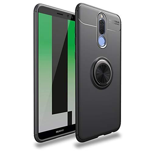 TiHen Funda Huawei Mate 10 Lite, 360 Grados Protective con Anillo Soporte+Pantalla de Vidrio Templado Case Cover Skin móviles telefonía Carcasas Fundas para Huawei Mate 10 Lite -Negro
