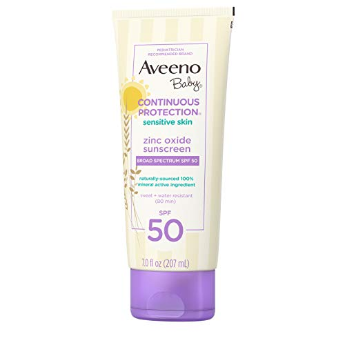 Aveeno Baby Continuous Protection Zinc Oxide Mineral Sunscreen Lotion for Sensitive Skin with Broad Spectrum SPF 50, Tear-Free, Sweat- & Water-Resistant, 7 fl. oz