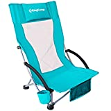 KingCamp High Back Camping Beach Folding Chair with Cup Holder Pocket Pillow for Outdoor Concert Lawn Sand Festival, Cyan