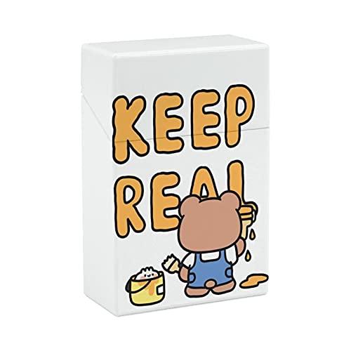 タバコケース シガレットケース 小さなクマ 落書き 英単語 たばこケース シガーケース 煙草ケース タバコ箱 Cigarette case タバコカバー 煙草入れ シガレット入れ 20本収納 手巻きタバコ おしゃれ 軽量 9.7*6.2*2.9cm