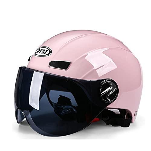 Casco de motocicleta casco abierto casco retro para adultos casco jet de verano ciclomotor cruiser para hombres y mujeres aprobado por ECE DOT pink,A