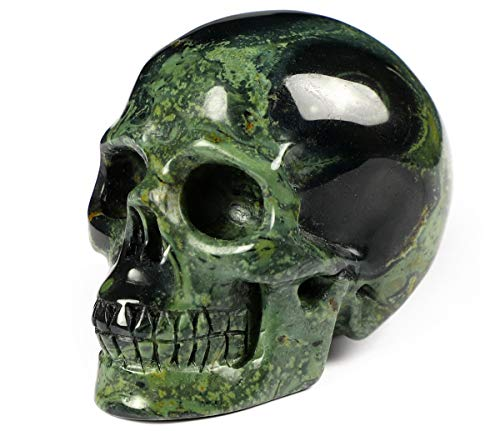 Skullis 2.0' Kambaba Jasper Crystal Skull, Hand Carved Gemstone Fine Art Sculpture, Reiki Healing Stone Statue.1