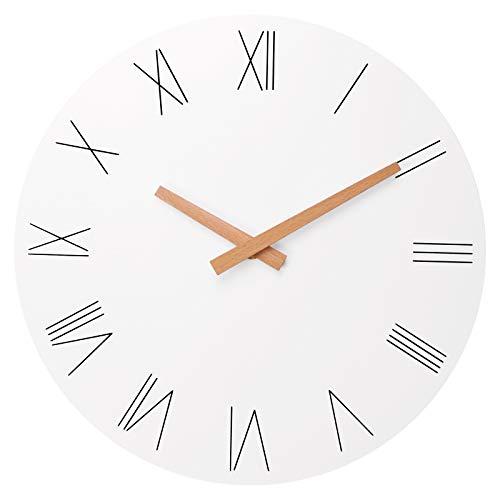 Foxtop Reloj de pared redondo elegante y moderno con números romanos y punteros de madera, sin tictac, silencioso, para decoración del hogar, oficina, escuela
