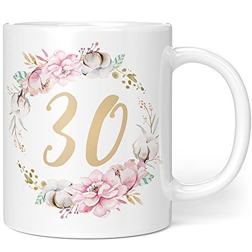 Regalo taza de cumpleaños 30 mujer – Idea de regalo para 30 cumpleaños – Regalo de cumpleaños para mujeres flores