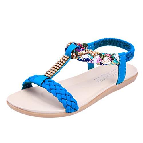 Sandalen Damen Kolylong Frauen Vintage Strass Flach Sandaletten Elegant Böhmen Römische Sandalen Sommer Strand Schuhe Zehentrenner Flip Flops