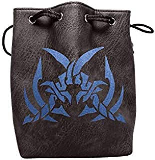 Black Leather Lite Large Dice Bag Assassin's Blades Design - Black Faux Leather Exterior Lined Interior - Stands up on its Own Holds 400 16mm Polyhedral Dice