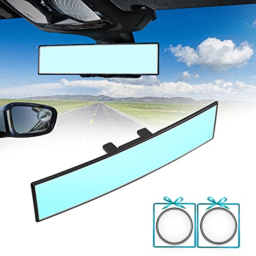 Rear View Mirror,VLATUO 12 inch (305mm) Panoramic Rear View Mirror, Universal Interior Clip On Convex Curve Rear View Mirror, Reduce Blind Spot for Cars SUV Trucks(12'L x 2.8'H)