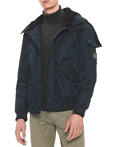 Calvin Klein Mens Puffer Bomber Jacket, Blue, Medium