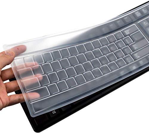 King of Flash Reusable Waterproof Keyboard Cover, Universal Clear Anti-Dust Keyboard Skin Protector Cover for 104/107 Keys Standard Desktop Keyboard (2Pack)