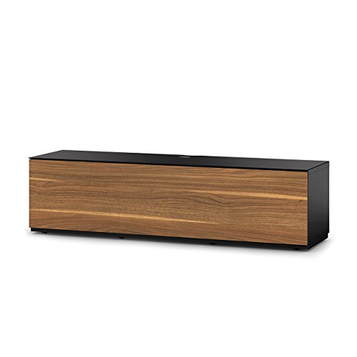 """SONOROUS Studio ST-160B Wood and Glass TV Stand with Hidden Wheels for Sizes up to 75"""" (Modern Design with 6 Shelves for Your Audio/Video Components and Consoles, Comes with I/R Repeater) - Black"""
