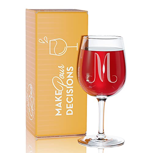 'M'- Monogram Engraved Wine Glass - 12.75 Ounce - Personalized Etched...