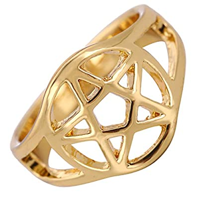 TEAMER Wiccan Pentacle Ring Witchcraft Pagan Gold Ring Size 7.5