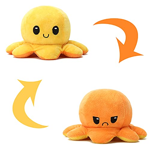 Weilisi Wendbarer Oktopus Plüschtier, Oktopus, wendbar, Plüsch, doppelseitig, für Kinder, Mädchen, Jungen, Freunde, Orange