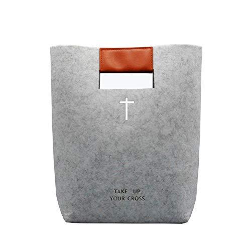 Aolaso - Funda para Biblia de fieltro, bolsa de transporte de piel tallada con cruz de la Santa Biblia