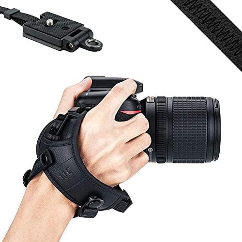 JJC Correa de mano para cámara DSLR con placa tipo suizo Arca para Canon Nik. (negro)
