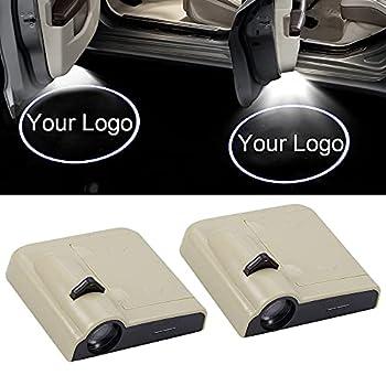 NewL 1 Pair Custom Logo Picture Wireless Led Projector Car Door Welcome Lights - Beige