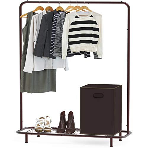 SimpleHouseware Industrial Pipe Clothing Garment Rack with Bottom Shelves, Bronze